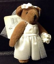 "3"" RUSS FULLY JOINTED TINY TOWN BEARS IN BRIDAL GOWN OUTFIT ORIGINAL TAG"