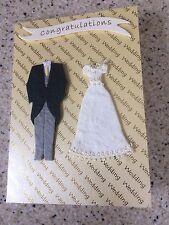 Handmade Happy Wedding Day congratulations Card Bride & Groom outfits unusual A6