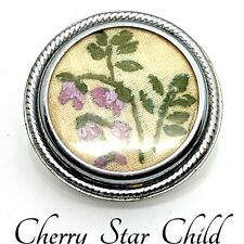 Silver plate round dome brooch w tiny pettit point flower embroidery