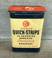 *EMPTY Vintage Medical Advertising Tin QUICK STRIPS BAND AID BANDAGE Tin