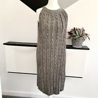 REISS Ethol Metallic Ruffle Dress Size 12 SILVER | SMART Occasion Christmas