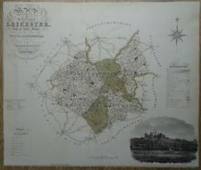 Antique Hand Coloured Map of Leicestershire c1830 by C. & I. Greenwood