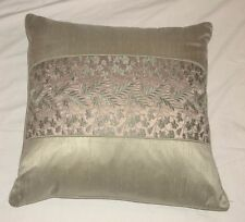 """Sage Green & Gold Embroidered 21"""" x 21"""" Throw Pillow EC!"""