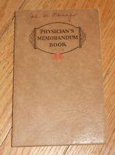1929 Antique Medical Physician's Memorandum Book. Manuscript Entires