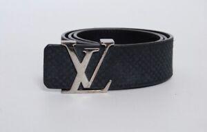 LOUIS VUITTON Suede Calfskin Mini Damier LV Initiales Belt Size 85/34