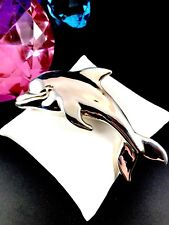 Gorgeous Designer Tami 925 Sterling Silver Dolphin Porpoise Pendant Brooch