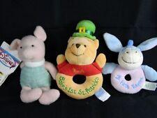 3 Disney Winnie the Pooh Baby Rattles Pooh Babys 1st St. Patricks  Eeyore Piglet