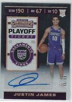 """2019/20 CONTENDERS JUSTIN JAMES """"PLAYOFF TICKET"""" AUTO RC #160 KINGS 46/99"""