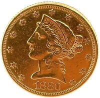 1880 P GOLD UNITED STATES $5 DOLLAR LIBERTY HEAD HALF EAGLE COIN.