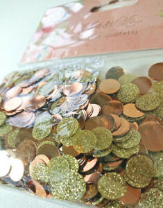 METALLIC CONFETTI TABLE SPRINKLES 1cm ROUND DISCS Bronze Copper GOLD GLITTER MIX