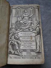 LIVRE INSTITUTIONUM SIVE ELEMENTORUM LIBRI QUATUOR ARNOLDI VINNII JC 1663 (C488)