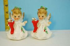 Pair of Vintage 1950's Josef Originals Christmas Angels w/ Red Stocking Figurine