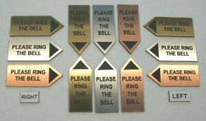 Arrow shape PLEASE RING THE BELL sign 62x25mm Up, Down, Left or Right