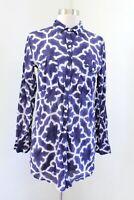 Roberta Roller Rabbit Indigo Blue Purple Geometric Print Tunic Blouse SZ XXS 2XS