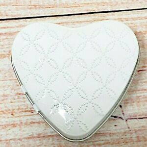 Martha Stewart Favor Tins 22 Count Box Heart Shaped Hinged White Eyelet New