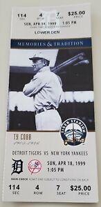 Ty Cobb 1999 Tiger Stadium Final Season Full Ticket Stub