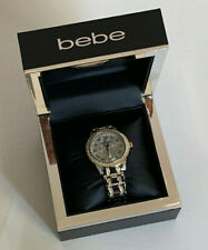 NEW! BEBE RHINESTONES CRYSTALS TWO-TONE GOLD SILVER STRAP BRACELET WATCH BEB5363