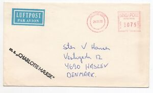1978 SINGAPORE Air Mail Cover to HASLEV DENMARK Meter Mail MS CHARLOTTE MAERSK