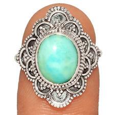 Republic 925 Silver Ring s.6 Br949 Bali Design - Genuine Larimar - Dominican