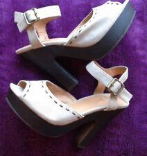 New Belle & Mimi Size 5 Suede Strappy Wooden Heel Platform Sandals light brown