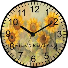 "9"" Personalized Sunflower Wall Clock"