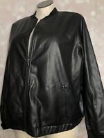 Evri 3x NWT Shiny Black Womens Zip Up Bomber JACKET MSRP $78 Faux Leather