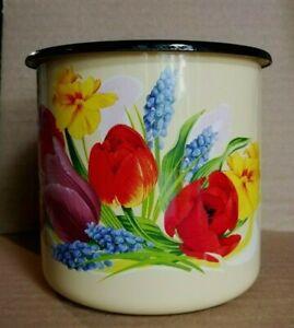 Becher Ostalgie Tasse in Creme 1 Liter emaillierte Emaille Blumen Vintage neu