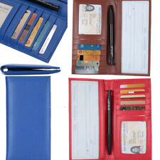 Micro Fiber Leather Checkbook Cover Wallet w/ ID Window Card Holder Long Unisex
