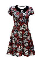 Gothic Floral Sugar Skulls Roses Print Rockabilly Collar Swing Dress Halloween