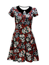 Gothic Floral Sugar Skulls Roses Print Rockabilly Collar Swing Dress Halloween
