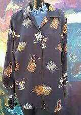 blouse 90s vintage Le Caviar purses print animal fashion shirt gay flamboyant