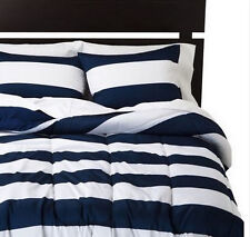 Bold Crisp Rugby Striped Lined Comforters, Choose Sizes And Colors - New