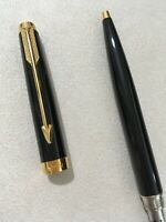 1990 PARKER 75 BLACK LACQUER GOLD TRIM BALLPOINT PEN-FRANCE-BLUE INK-SUPERB.