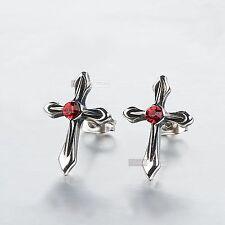silver stud stainless steel crystal vintage style cross earrings