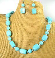 Turquoise Gemstone Beads Fashion Necklace Earring Set