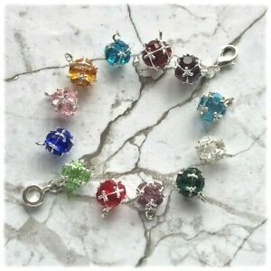 Glass faceted Birthstone Clip-on/Dangle Charms-Charm Bracelets