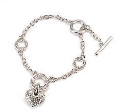 14K White Gold CZ Crystals Heart Charm Women's Bracelet Bangle Gift