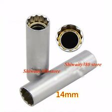 """Long Thin Wall Magnetic Spark Plug Socket 3/8"""" 14mm Length 65mm For BMW Nissan"""