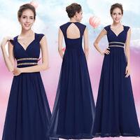 Ever Pretty Long Ball Evening Dresses V-neck Navy Blue Bridesmaid Dresses 08697