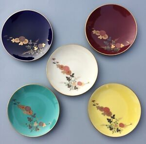 Vtg. (5) Fukagawa Koransha Hand Painted Porcelain Sushi Plates  5 PC Set w/ Case
