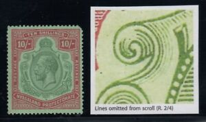"""Nyasaland, SG 113g, MHR (gum bend) """"Lines Omitted from Scroll"""" variety"""
