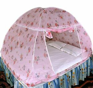 Foldable Polyester Double Bed Mosquito Net  Light Pink  free shipping US