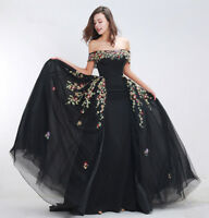 Black Evening Dresses Beading Formal Pageant Prom Gowns A Line Off Shoulder Long