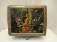 """Victorian Antique Tin Box Toffee Lithograph Of Musician Singer Collectibles Old"""""""
