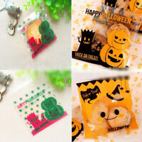 100pcs Plastic Self Adhesive Halloween Cellophane Cookie Candy Bags Party Gift