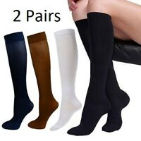 Compression Socks Support Stockings Mens Womens Plantar Graduated mmHg (2 Pairs)