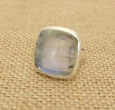 Chunky Square Moonstone 925 Silver Ring UK Size Q 1/2-US Size 8 1/2 Jewellery