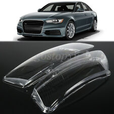 Pair Clear Headlight Lens Right & Left Lampshade Cover For Audi A6 C6 2006-2011