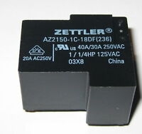 Zettler AZ2150 40A Heavy Duty Relay - 250 VAC SPDT Contacts - 18 V Coil