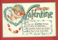 TO MY VALENTINE CUPID WITH HEARTS FORGET ME NOTS B.B. LONDON   POSTCARD